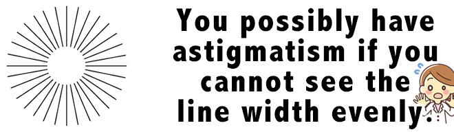You possibly have astigmatism if you cannot see the line width evenly.